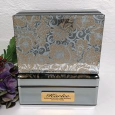 100th Birthday Jewellery Box Mirrored Golden Glitz