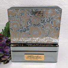 70th Birthday Jewellery Box Mirrored Golden Glitz