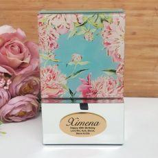 40th Birthday Mirrored Trinket Box- Peony