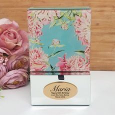 60th Birthday Mirrored Trinket Box- Peony