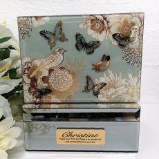 13th Birthday Vintage Gold Glass Trinket Box