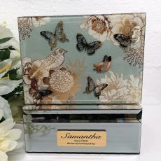 Graduation Vintage Gold Glass Trinket Box