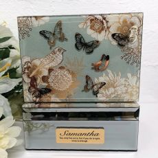 Personalised Vintage Gold Glass Trinket Box