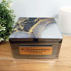 80th Birthday Black & Gold Glass Trinket Box