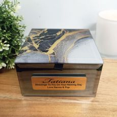 Naming Day Personalised Black & Gold Glass Trinket Box