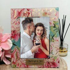 Anniversary Birthday Peony Photo Frame 5x7 Glass
