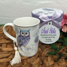 Aunt Mug with Personalised Gift Box - Blue Owl