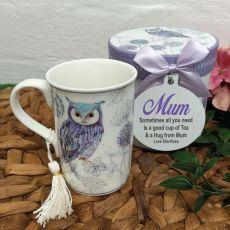 Mum Mug with Personalised Gift Box - Blue Owl