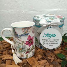 Aunt Mug with Personalised Gift Box - Blue Bird