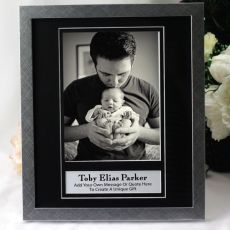 Baby Personalised Photo Frame 6x8 Black/Silver