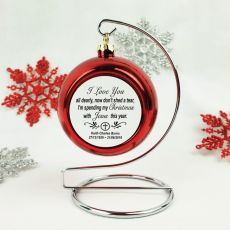 Memorial Christmas Bauble with Quote - Red