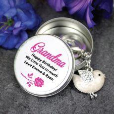 Personalised Grandma Keyring Gift - Bird
