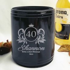 40th Birthday Engraved Black Can Cooler Female Designs