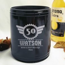 Personalised 50th Black Can Cooler- Male Gift