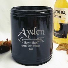 Best Man Engraved Black Can Cooler Personalised Message
