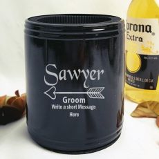 Groom Engraved Black Can Cooler Personalised Message