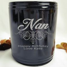 Nanna Engraved Black Can Cooler Personalised Message