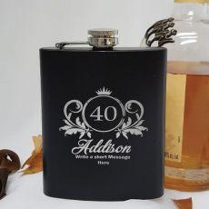 40th Birthday Engraved Personalised Black Hip Flask (F)