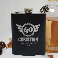 40th Birthday Engraved Personalised Black Hip Flask (M)