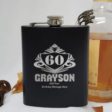 60th Birthday Engraved Personalised Black Hip Flask (M)