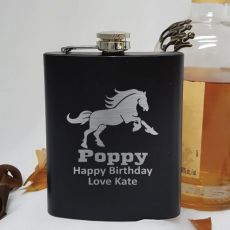 Pop Engraved Black Flask