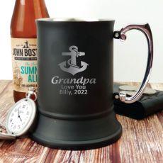 Grandpa Engraved Stainless Steel Black Beer Stein