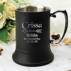 Bride Engraved Stainless Steel Black Beer Stein