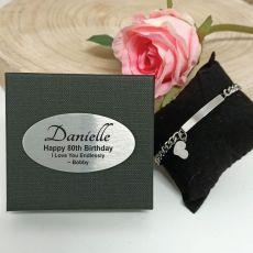 80th Birthday ID Heart Bracelet In Personalised Box