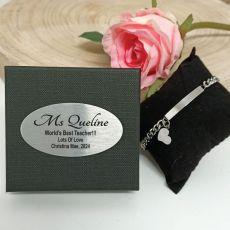 Teacher ID Heart Bracelet In Personalised Box