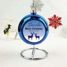 Personalised Christmas Bauble - Blue Reindeer