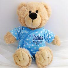 Personalised Teddy in Blue Pyjamas