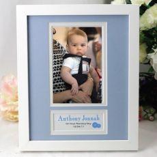Baby Boy Naming Day Photo Frame 4x6 White Wood