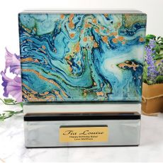 Birthday Jewellery Box Glass Mirrored Fortune Of Blue