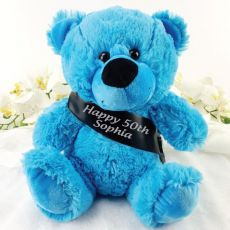 Personalised 50th Birthday Bear with Sash- Bright Blue