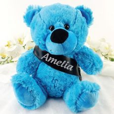 Personalised Bright BlueTeddy Bear with Sash