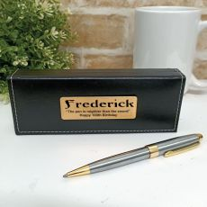 100th  Birthday Satin & Gold Twist Pen Personalised Box