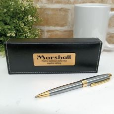Personalised Satin & Gold Twist Pen Personalised Box