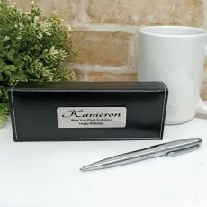 Birthday Silver S/S Twist Pen in Personalised Box