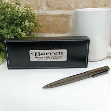 70th Birthday Gunmetal Twist Pen in Personalised Box