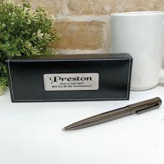 Groomsman Gunmetal Twist Pen in Personalised Box