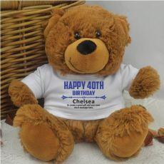 Personalised 40th Birthday Teddy Bear Brown Plush