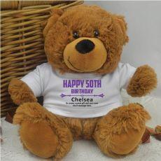 Personalised 50th Birthday Teddy Bear Brown Plush
