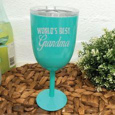World's Best Grandma Teal Stainless Wine Glass