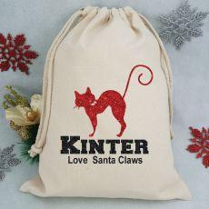 Personalised Christmas Santa Sack - Glitter Cat