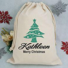 Personalised Christmas Santa Sack - Glitter Tree