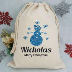 Personalised Christmas Santa Sack - Snowman