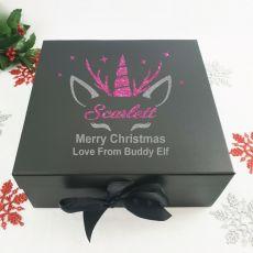 Personalised Black Christmas Eve Box - Unicorn