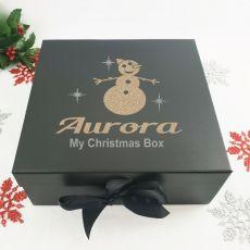 Personalised Black Christmas Eve Box - Snowman