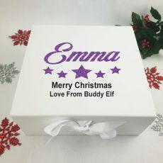 Personalised White Christmas Eve Box - Stars