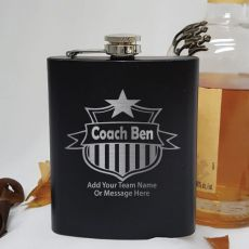Personalised Coach Engraved Black Flask